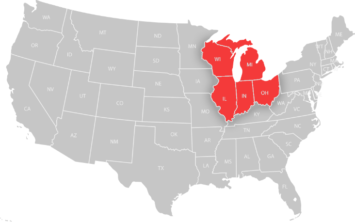 States serviced in the United States, WI, MI, IL, IN, OH